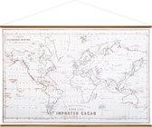 Vintage Textielposter Wereldkaart Zwart/Wit - Hout & Stof - Premium Canvas Stof Groot - XL 110x73 cm