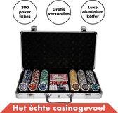 Pokerset 300 Pokerfiches Laser - Luxe Aluminium Koffer – 5 Dobbelstenen – 1 Pokerbuttons - Pokerkoffer (300 Poker chips) - Blackjack Speelkaarten Volwassenen – Toernooi Pokerkaarten – Casinoset Kopen – Poker Cards Strip pokeren - Texas Hold'Em