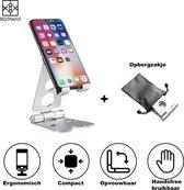 MyStand® - Telefoon Houder Opvouwbaar/Inklapbare Stand| Mini iPad / iPhone Standaard voor Bureau of Tafel TikTok Statief | Zilver