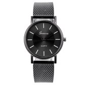 Fako® - Horloge - Geneva - Mesh Look - Zwart