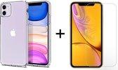 iPhone 12 hoesje en iPhone 12 Pro hoesje case siliconen transparant apple hoesjes cover hoes - 1x iPhone 12/12 Pro Screenprotector