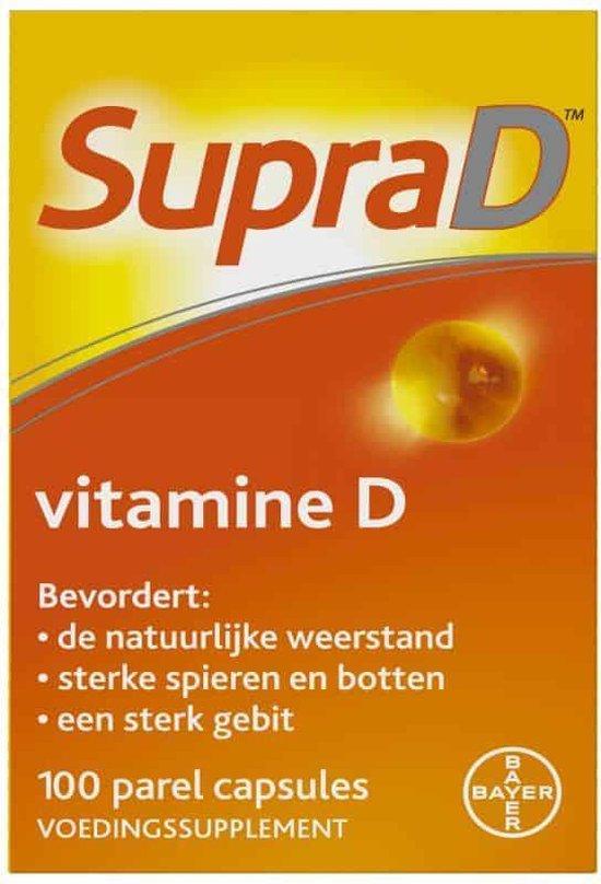 Supra D, vitamine D voor sterke botten en spieren, 100 parelcapsules