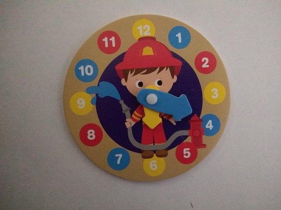Leren klok kijken klok 13 cm brandweerman