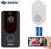 Eken - 1080P Video Deurbel EKEN V7 Zwart + Accu`s en Gong - Zeer hoge resolutie 1080p HD - Draadloze Deurbel
