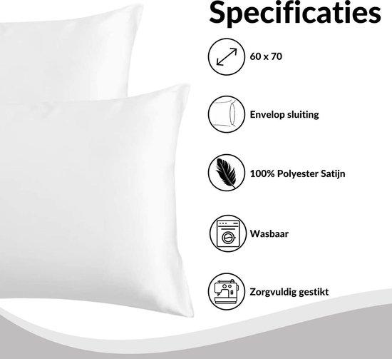 Satijnen Kussensloop Beauty Anti Allergeen - Huidverzorging - Haarverzorging - Wit - 60 x 70 – 2 Stuks