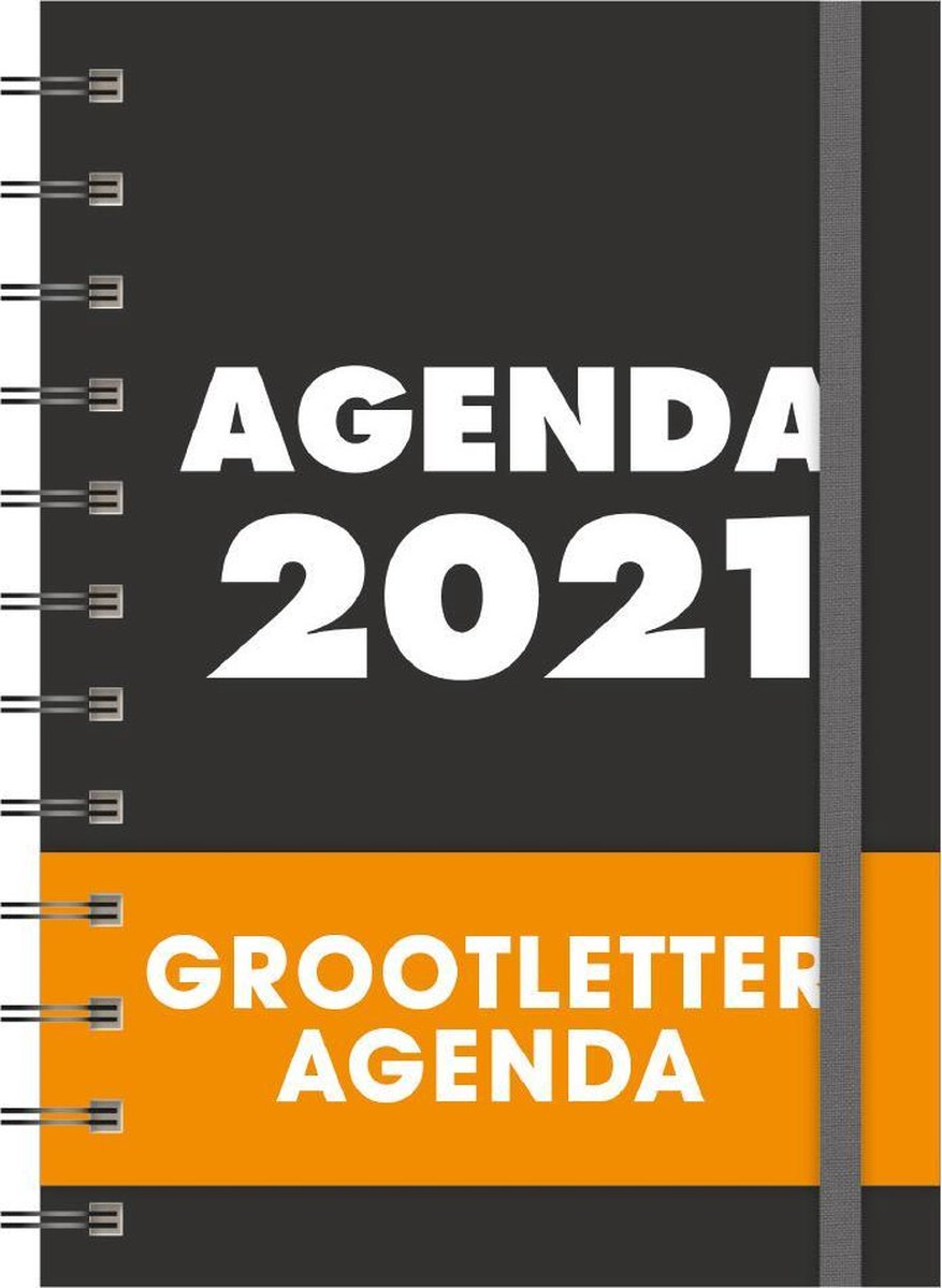 Hobbit Grootletter agenda - A6 - Spiraal - Zwart - 2021