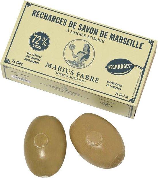 Groene Marseillezeep (Savon de Marseille) zeepbollen voor wandhouder (navulverpakking 2 stuks) – zonder palmolie en plasticvrij verpakt - Natuurlijke pure Marseille zeep - vegan - dierproefvrij - zonder chemische toevoegingen