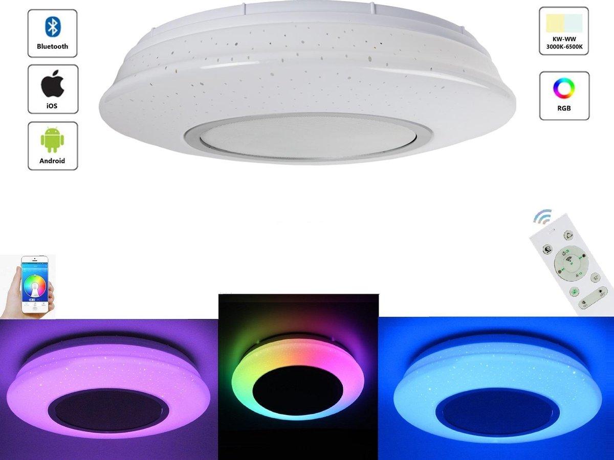 Varin® LED Plafondlamp met Bluetooth Speaker - Premium 24W Led Lamp - Ø 30cm Plafoniere - 2800 Lumen - Wit en RGB - Smart Lamp - Dimbare Plafonnière - Ceiling Light - Ledlamp
