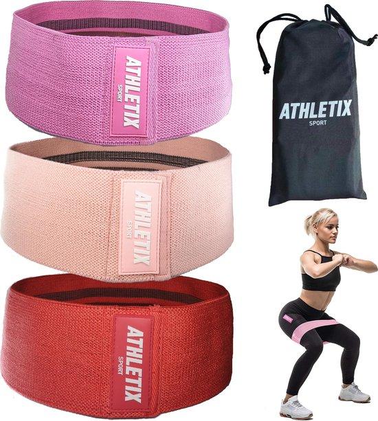 Athletix® - Weerstandsbanden Set van 3 - Met Gratis Draagtas - Booty Bands - 3 Resistance Bands - Roze