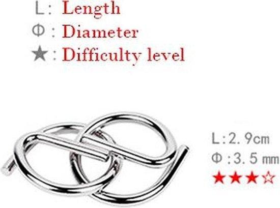 Thumbnail van een extra afbeelding van het spel 1 van 8 verschillende Random Gekozen Metalen Puzzel Breinbreker Hersenkraker Denkspel Puzzel Brain Teaser Geduldspel Blauw Stipco
