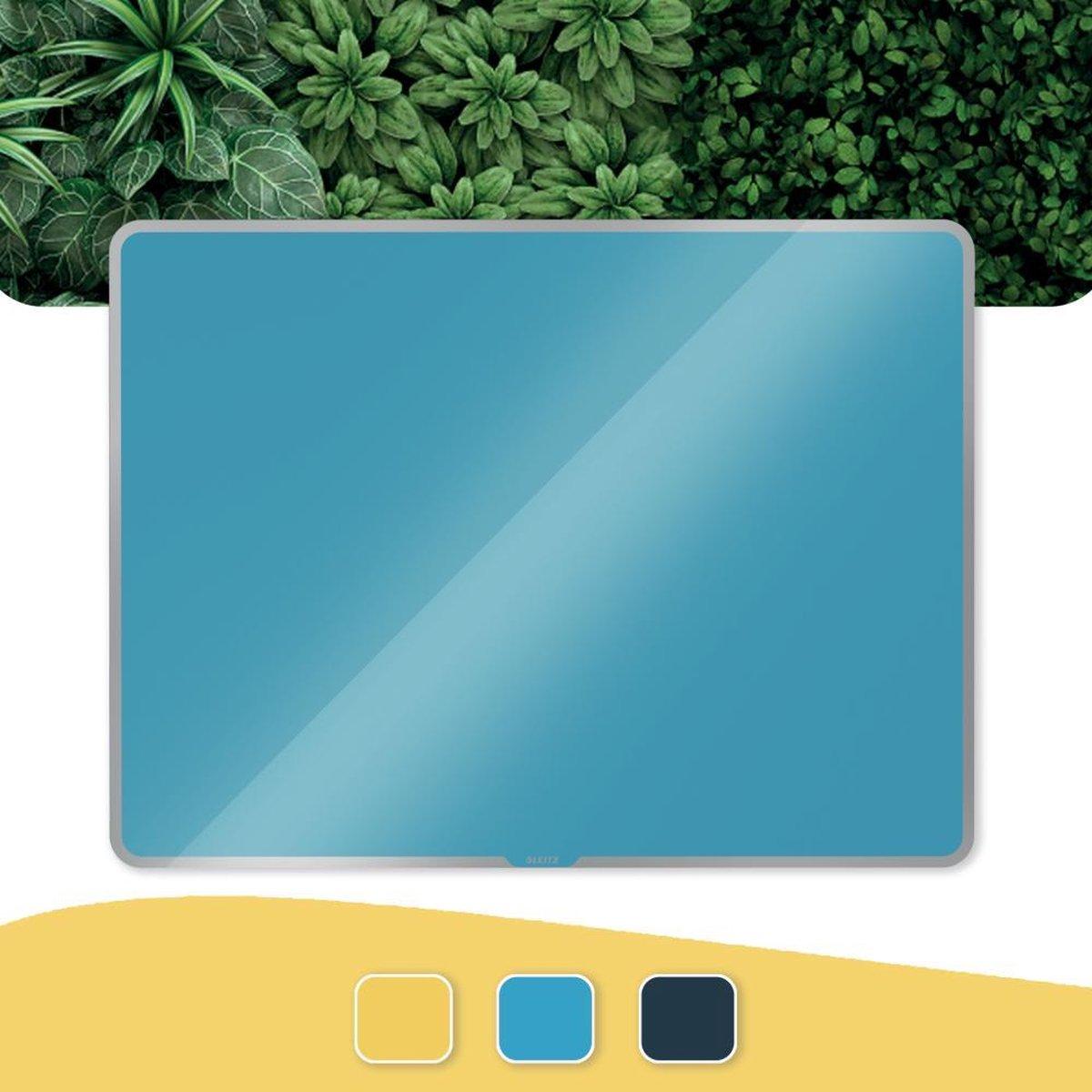 Leitz Cosy Glazen, Magnetisch Whiteboard Met Montageset - Glassboard Inclusief Microvezeldoek, Uitwisbare Marker Met Wisser - 800x600mm - Sereen Blauw