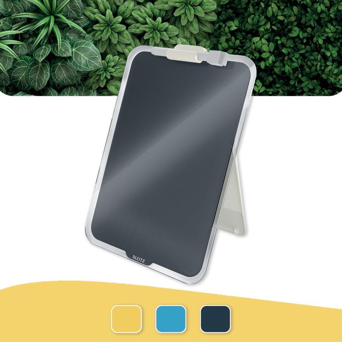 Leitz Cosy Beschrijfbare Glassboard Voor Bureau - Clipboard a4 Formaat - Glazen Memobord Inclusief Inclusief Pennenhouder En Minimarker Met Wisser - Fluweel Grijs