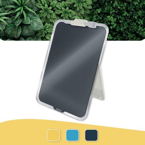 Afbeelding van Leitz Cosy Beschrijfbare Glassboard Voor Bureau - Clipboard a4 Formaat - Glazen Memobord Inclusief  Inclusief Pennenhouder En Minimarker Met Wisser-  - Voor Kantoor En Thuiswerken - Fluweel Grijs - Ideaal Voor Thuiskantoor