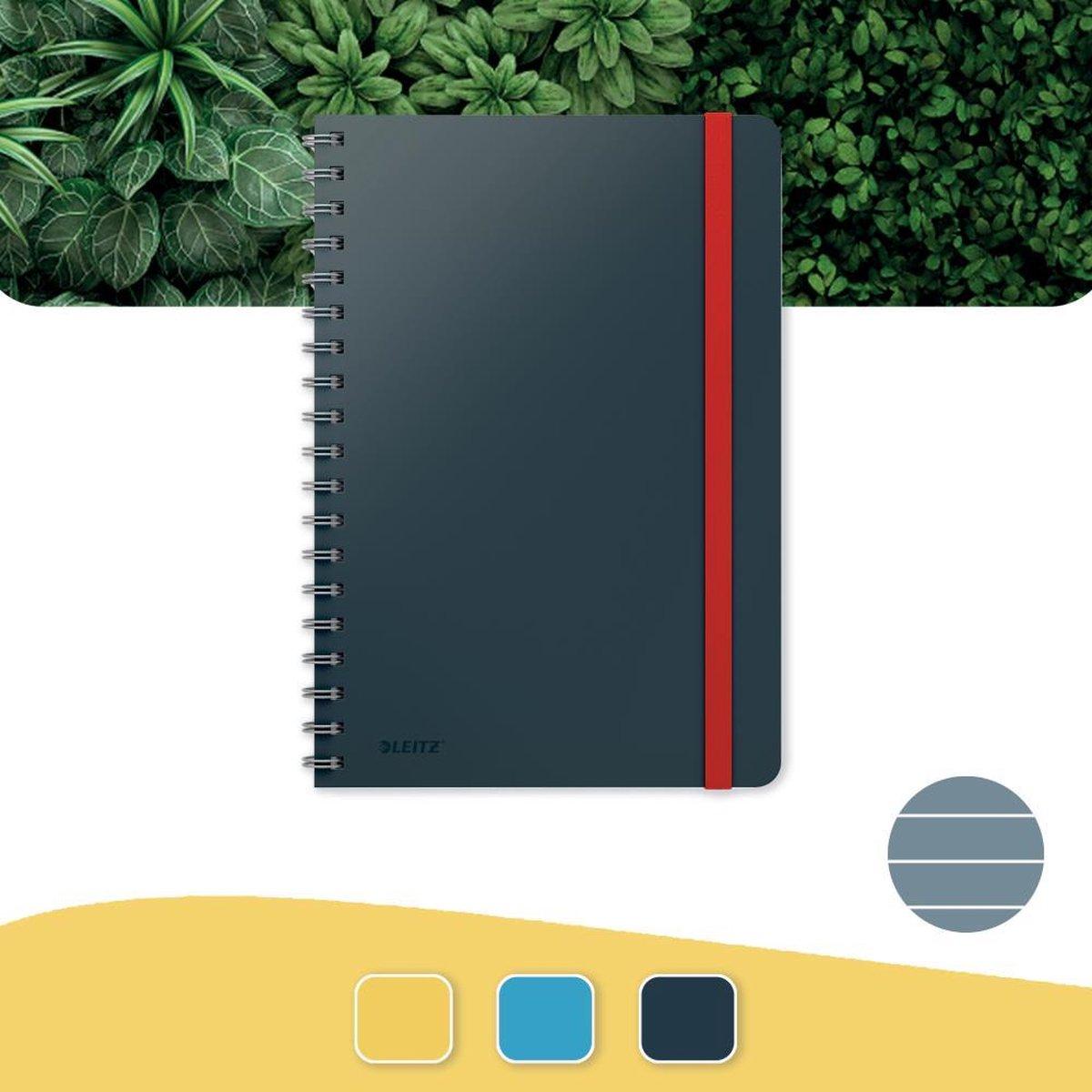 Leitz Cosy Notitieboek B5 Soft Touch Gelijnd - Notitieboek Hard Cover - Spiraalgebonden - Voor Kantoor En Thuiswerken - Fluweel Grijs - Ideaal Voor Thuiskantoor