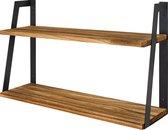 LifeGoods Industriële 2-Laags Wandplank - Zwevend - Rustiek - 41cm - Hout/Metaal - Zwart/Bruin