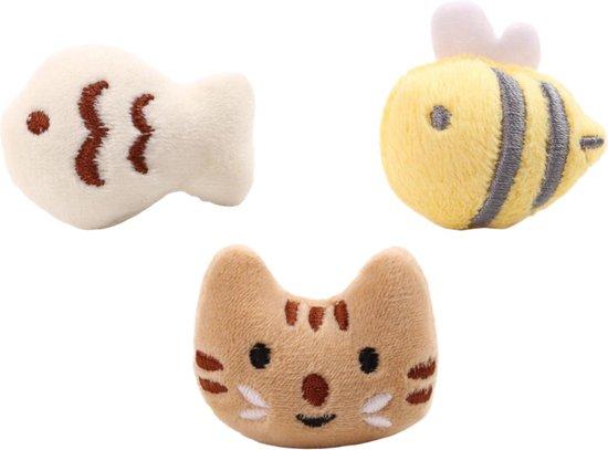Make Me Purr Mini Dieren Set (3 stuks) - Kattenspeeltjes met Catnip Kattenkruid - Kattenspeelgoed - Speelgoed voor Katten Vissen - Kat Speeltje Vis - Kitten Speeltjes Visjes