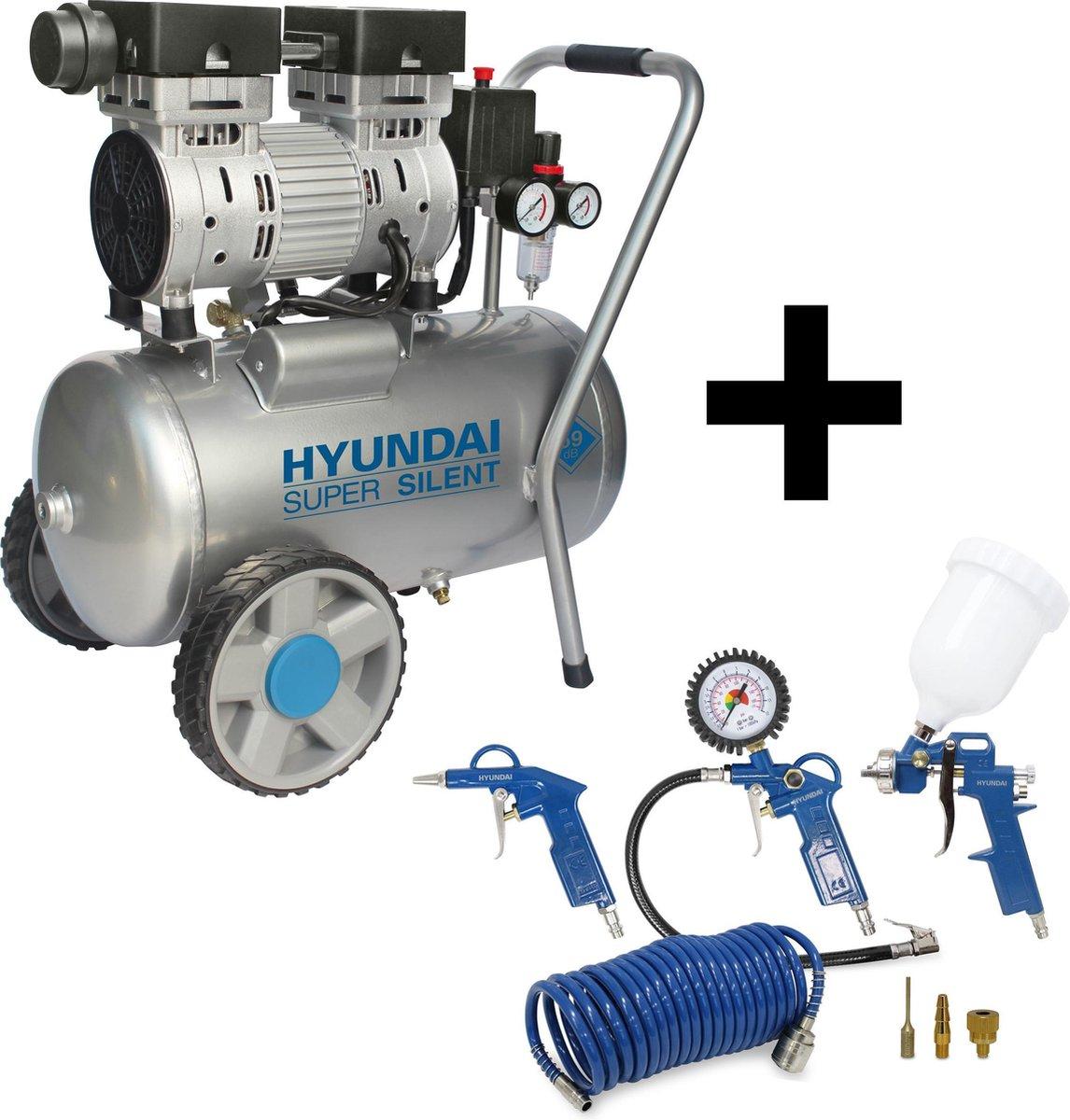 Hyundai stille compressor 24 liter - olievrij  / 8 BAR / 59 dB 'Super Silent' - DELUXE versie incl.
