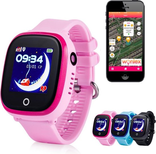 GPS tracker horloge kind junior AQUA Wifi Camera Roze [IP 67 Waterdicht]