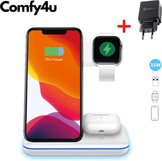 Comfy4u 2020 Model – 3 in 1 Draadloos Oplaadstation Inclusief Gratis Qualcomm Quick Charge 3.0 adapter en kabel – Voor iPhone Iphone / iWatch / Airpods 2 Pro / Samsung Galaxy / Huawei – Oplaadstation – Docking Station – Fast Charger – Snellader – Qi