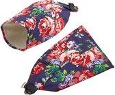 Basil Fiets Handwarmers Set - Roses - blauw/rood