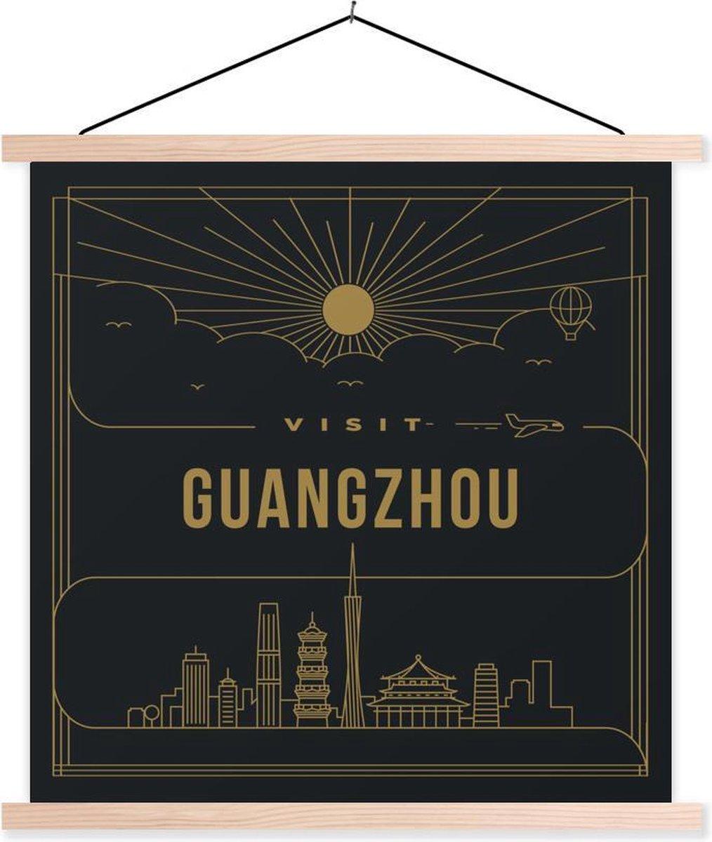 Stadsaanzicht Guangzhou - zwart textielposter latten blank 60x60 cm - Foto print op schoolplaat (wanddecoratie woonkamer/slaapkamer)