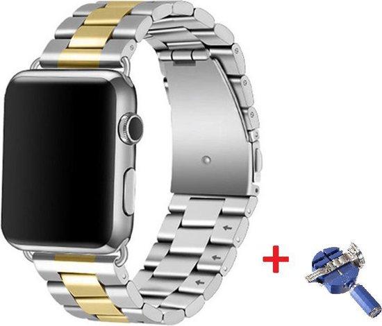 Luxe Metalen Armband Voor Apple Watch Series 1/2/3/4/5/6/SE 38/40 mm Horloge Bandje - iWatch Schakel Polsband Strap RVS - Met Horlogeband Inkorter - Stainless Steel Watch Band - One-Size - Goud/Zilver Kleurig