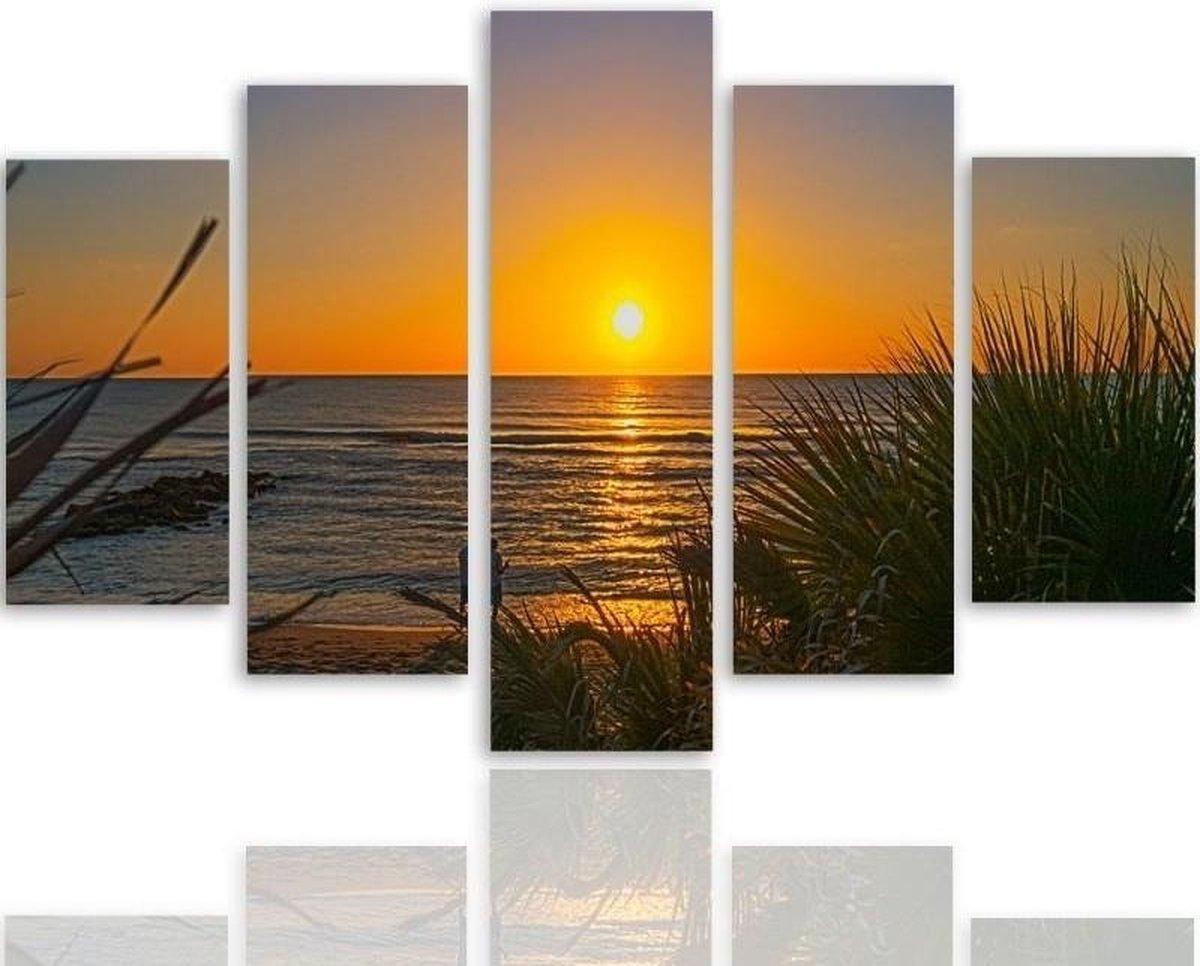 Schilderij , Zonsondergang aan het strand , Multikleur ,4 maten , 5 luik , wanddecoratie , Premium print , XXL