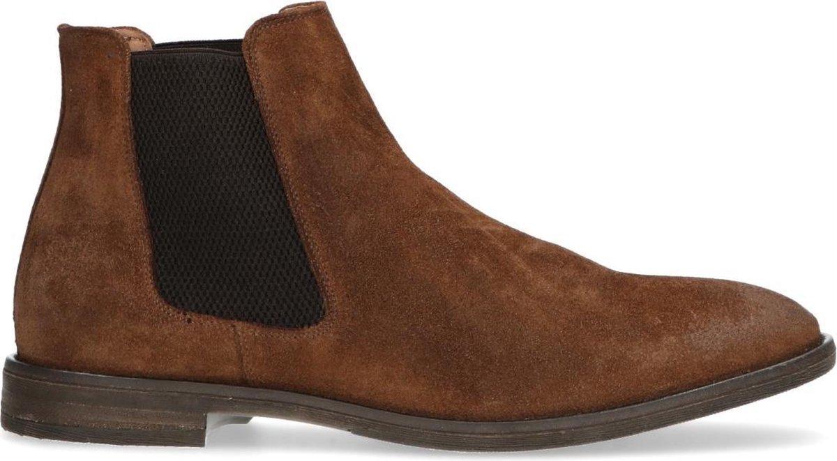 Manfield - Heren - Bruine suède chelsea boots - Maat 43