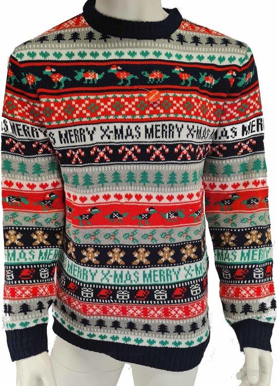 Kabel kersttrui Merry X-Mas met lichtjes/lampjes voor volwassenen - Foute kersttruien met licht - Kerstmis truien/kerst sweater L (52)