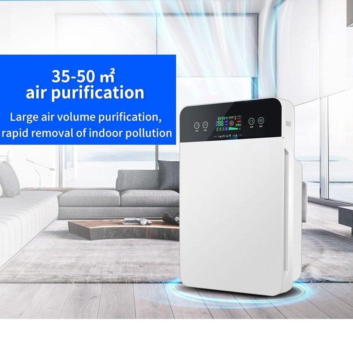 Pro-Care Luchtreiniger PM2.5, HEPA, ION 5 lagen filter, Wit 280m3h Intelligent Touch LCD bediening met afstandsbediening