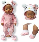 Poppenkleding meisje - Geschikt voor oa Baby Born - Roze- Kitten - Huispak - Poppenkleertjes 43 cm - Onesie - GRATIS verzending
