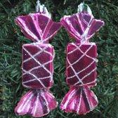 Kerstboom versiering | Snoep | Kerstbal | Hanger | 2 stuks | Roze