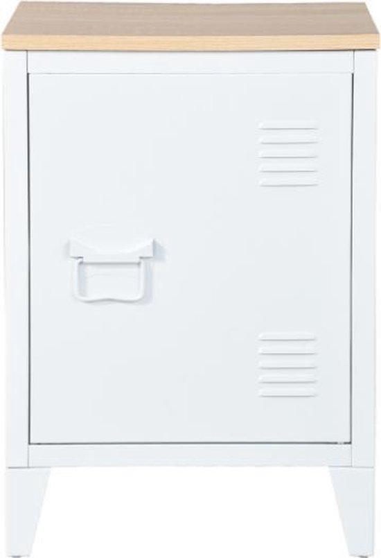 Evella living - Nachtkastje - Slaapkamer decoratie - Opbergkast - Modern - Metaal - Hout - Wit - 30,5x40,5x57,5
