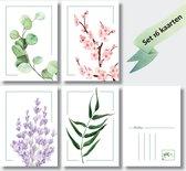 Wenskaarten set blanco - 16 stuks - ansichtkaarten zonder tekst - A6 kaartenset natuur - DutchDesign