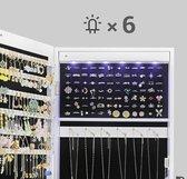 MIRA Home - Sieradenhouder - Spiegelkast - LED Verlichting - Hout - Wit - 37x9.5x120