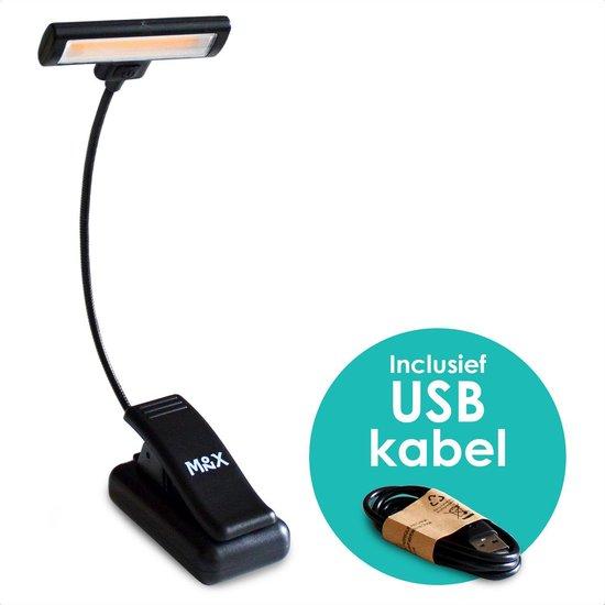 Oplaadbaar USB Leeslampje met Klem - Draadloos Clip On LED Boeklampje - Dimbaar - Verstelbaar - Flexibel - Flexilight - Met Accu voor 48 uur - Geschikt voor Boek/E-reader/Kindel/Kobo/PC/Laptop/Muziek/Slaapkamer - Zwart