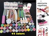 Acrylnagels Starterspakket | 42 kleuren | 500 Tips | incl. Nagelfreesmachine