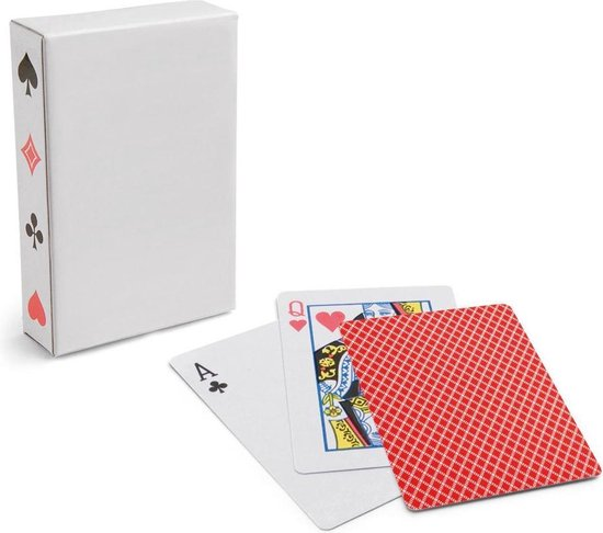 Afbeelding van het spel 1x Setje van 54 speelkaarten rood - Kaartspellen - Speelkaarten - Pesten/pokeren - Engelstalige speelkaarten