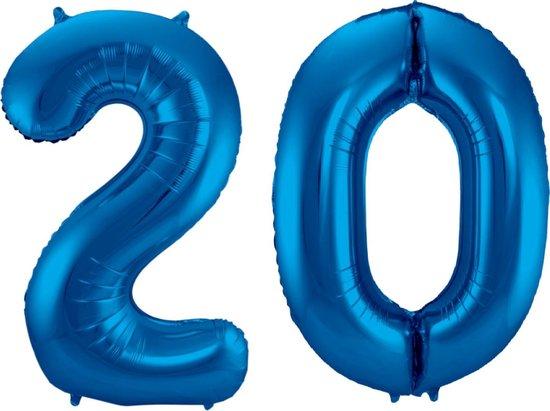 Ballon Cijfer 20 Jaar Blauw Verjaardag Versiering Blauwe Helium Ballonnen Feest Versiering 86 Cm XL Formaat Met Rietje