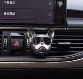 French Bulldog Auto Parfum - Incl. 3 Vullingen - Premium Auto Luchtverfrisser - Van Handythings - Navulbaar Auto Parfum - Zilver