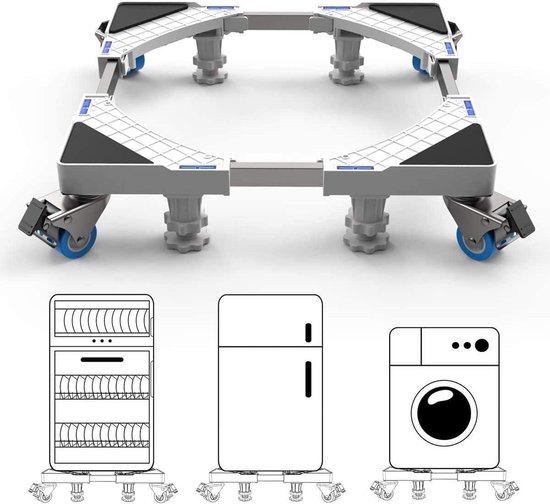 EverestPeak® Wasmachine verhoger - Multitool - Ook geschikt voor Vaatwasser, Koelkast, Vriezer en Droger - Duurzaam - RVS - ABS - Maximaal 400 kg - Verstelbare + Wieltjes- 50/75 x 9,5/13 cm
