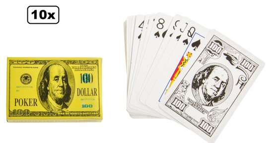 Afbeelding van het spel 10x Speelkaartenset dollars - speel kaarten pokeren pesten hartejagen klaverjassen