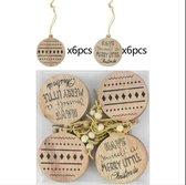 ProductGoods - Houten Kersthangers - Patronen En Tekst - Zelf in te kleuren - Set van 12 stuks - Kerst Decoratie - Kerst