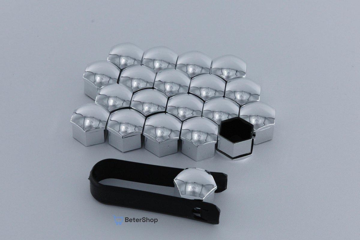 Wielmoerkapjes 17 mm - Chrome - Kunststof - Set van 20 stuks incl. tweezer tool - Universeel