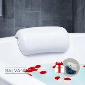 Salvano Badkussen met zuignappen - Spa kussen - Kussen voor in bad - Waterdicht - Incl. Spons - Wit