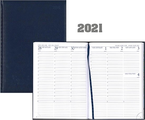 Afbeelding van Bureau-agenda 2021 - MGP - Voyager Luma - A5 - 7d/2p - Donkerblauw