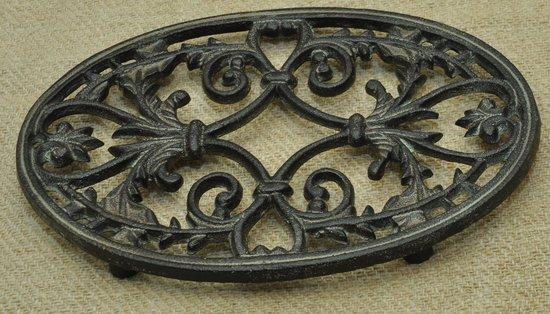 Kom Amsterdam, Onderzetter voor pannen,  ovaal, Gietijzer, Antic Finish, diameter 24 cm