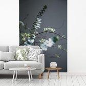 Fotobehang vinyl - Eucalyptustakken zichtbaar op een grijze achtergrond breedte 175 cm x hoogte 260 cm - Foto print op behang (in 7 formaten beschikbaar)