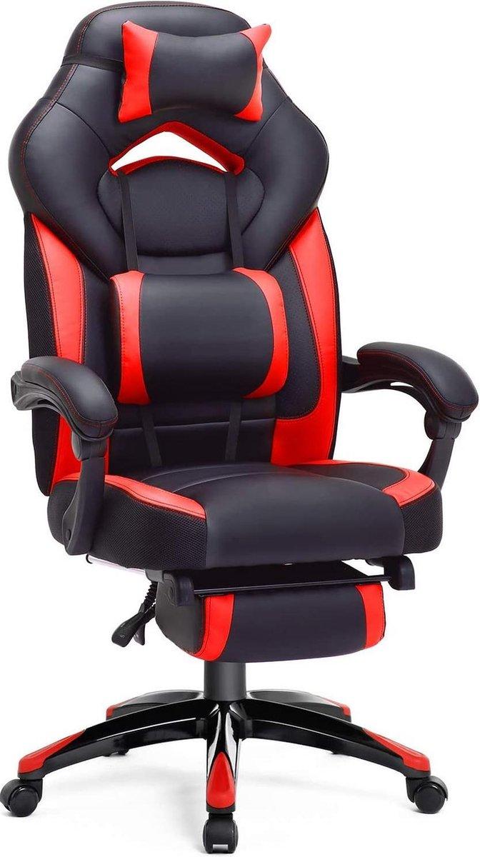 Gamestoel - Bureaustoel met Voetsteun - Zwart-Rood