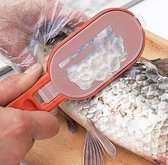 Duurzaam Visfileermes - Vis Schubben Schraper met Handig Opvangbakje en Uitklapbaar Scherp Fileer Mes - Rood